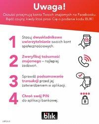 plakat z ostrzeżeniami na temat oszustw za pośrednictwem płatności BLIK